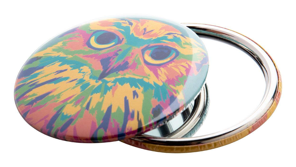 BeautyBadge pin button pocket mirror