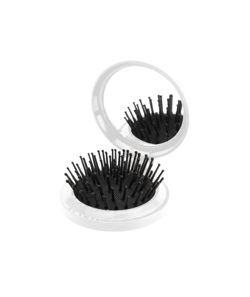 Glance mirror with hairbrush