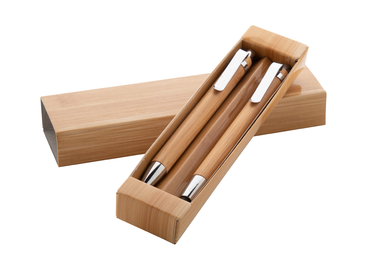 Heleon set stylo à bille stylet et porte-mine en bambou